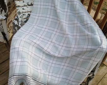 Vintage Pale Green Windowpane Check Tablecloth