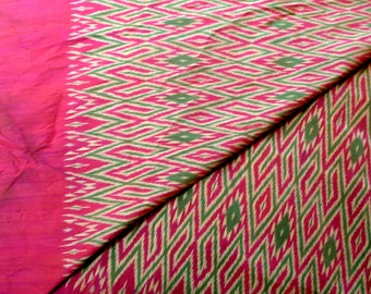Vintage Thai Ikat Silk Fabric Ethnic Flame Stitch Silk Yardage Multicolor For Sewing and Decor