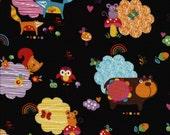 1 yard Black Animals Momo Fabric Alice Kennedy for Timeless Treasures