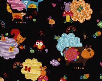 1 yard Black Animals Momo Fabric Alice Kennedy for Timeless Treasures