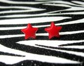 Red Star Earrings, Resin Studs, Simple Minimalist, Kitsch Kawaii, Celestial Jewelry