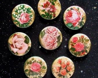 """Pretty Pink Retro Roses 1.25"""" Magnets or Pinback Buttons - Set of 8"""