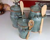 Kitchen Canister Set of Two and a Oil Dispenser in Slate Blue - Made to Order