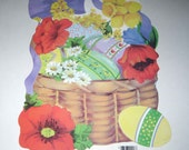 Vintage Die Cut Cardboard Easter Decoration with Flowers and Easter Eggs by Eureka