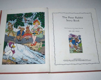The Peter Rabbit Story Book Vintage 1930s Children's Book by Platt & Munk Illustrated by Bess Goe Willis