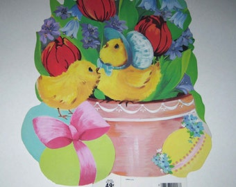 Vintage Die Cut Cardboard Easter Decoration with Yellow Chicks in Tulip Flower Pot and Easter Eggs by Eureka