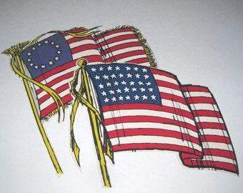 Vintage Die Cuts of American Flags Set of 2