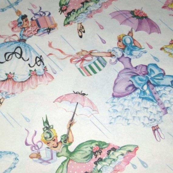 Vintage Wedding Gifts: Vintage Bridal Shower Wrapping Paper Or Gift Wrap With Girls