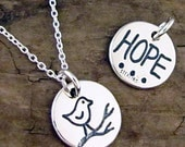 Silver Bird Necklace - Bird Jewelry, Hope Word Jewelry - Reversible Inspirational Necklace