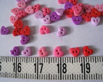 100 pcs of Tiny Heart Button in Red Pink Purple - 5mm
