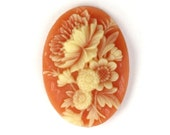 Vintage Plastic Floral Cameos 18x13mm Carnelian and Ivory (6) VIC292