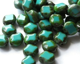 Polished Diamond Turquoise Picasso Czech Glass Beads (12) CZP247