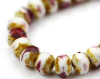 Czech Glass Beads Fire Polished Gemstone Donuts 9x6mm Raspberry Parfait Picasso (12) CZF546