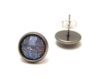 Cornflower Blue Glitter Studs - Super sparkly light blue glitter rhinestones on gunmetal post earrings