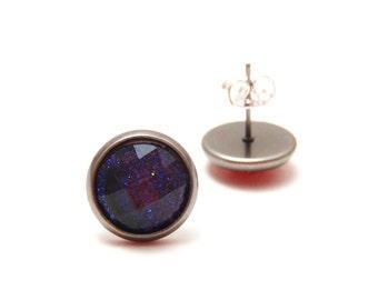 Purple Glitter Earrings - Super sparkly bright violet glitter rhinestones on gunmetal post studs