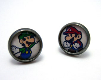 Mario Bros Studs - Mario and Luigi Nintendo bezel post earrings - SMALL 10mm - Geek Chic Gamer Jewelry