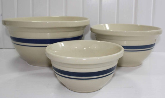 Friendship Pottery 4 2 1 Quart Nested Mixing Bowl Set Blue