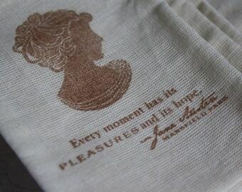 Jane Austen Muslin Favor Bags Bridal Shower Stamped Wedding Mansfield Park