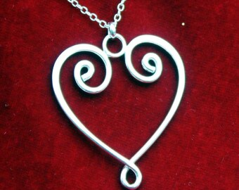 Scroll Heart Sterling Silver Pendant