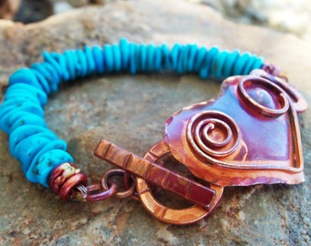 Copper Heart Bracelet - Turquoise Bracelet - Sleeping Beauty Turquoise - Rustic Copper Bracelet - Cowgirl Jewelry - Cowgirl Bracelet