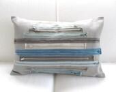 SALE !  Pillow Cover -  Blue Grey Aqua - Industrial - Vintage Zippers