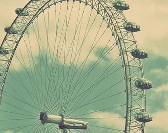 London Eye Photo, Ferris Wheel, England Architecture, Art Print ,United Kingdom, Thames River, Teal Photo, Wall Decor, Vintage Style Photo
