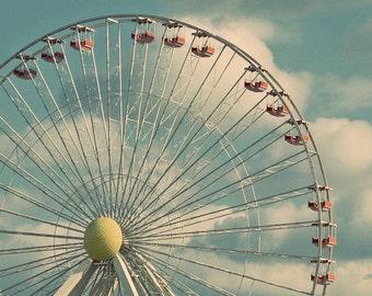 Ferris Wheel Photograph, Art Print, Wildwood New Jersey, Childrens Room Decor, Babys Room Photo, Nursery Decor, Turquoise Print ,Teal Photo