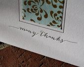 Letterpress Thank You Cards : Blue & Gold Mum Japanese Paper - Set of 6