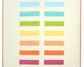 Modern Baby Quilt -  Rainbow Bricks