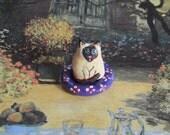 Cat Art  Siamese Totem  Polymer Clay
