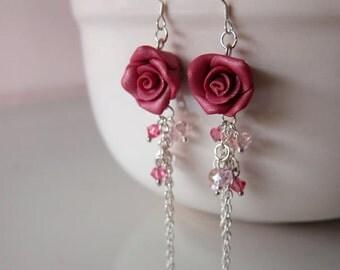 Maroon Rose Dangle Earrings - Handmade Polymer Clay Rose Earrings - Red Rose Crystal Earrings - Maroon Red Wedding Jewelry