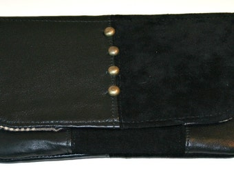 OOAK Repurposed Black Leather and Suede Small Clutch Purse Pouch