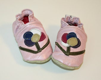 OOAK Recycled Textured Pink Leather Crib Shoes Soft Baby Shoes Moccasins Size 3 to 6 Months
