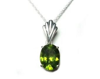 Peridot pendant with chain