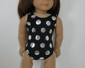 18 inch Doll Clothes Black with Silver Polka Dots Swimsuit