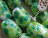 Vintage Glass Beads (4) Handmade Japanese Lime & Apple Green Focal Beads