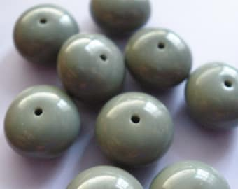 Vintage Glass Beads (10) Stormy Dark Gray Large Rondell Beads