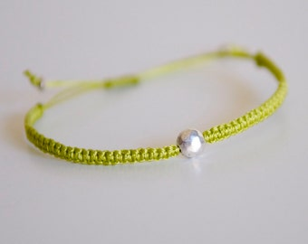 CUSTOM Little Dot Bracelet - silver and poly cord with macrame adjustable sliding knot