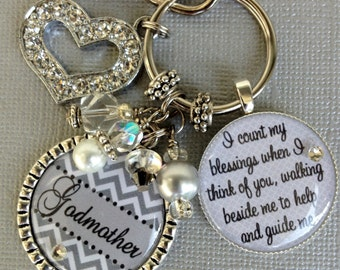 GODMOTHER Gift, Special Grandma, Aunt gift, Mom, charm Necklace, Baptism gift, walk beside me to help guide me, Heart Charm