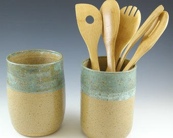 ONE Ceramic Kitchen Utensil Holder Crock, Wedding Shower Gift, Farmhouse Pottery, Tool Holder, Spoon Holder, Rustic Decor, Ready to Ship