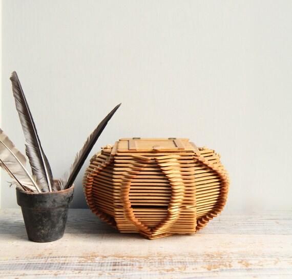 Items Similar To Vintage Folk Art Basket / Tramp Art