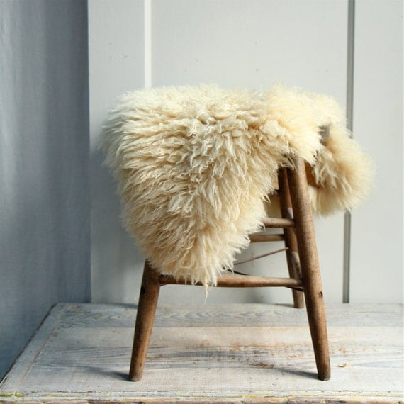 Vintage Sheep Skin Pelt Fur Cushion Rug