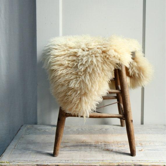 Vintage Sheep Skin / Pelt Fur Cushion Rug