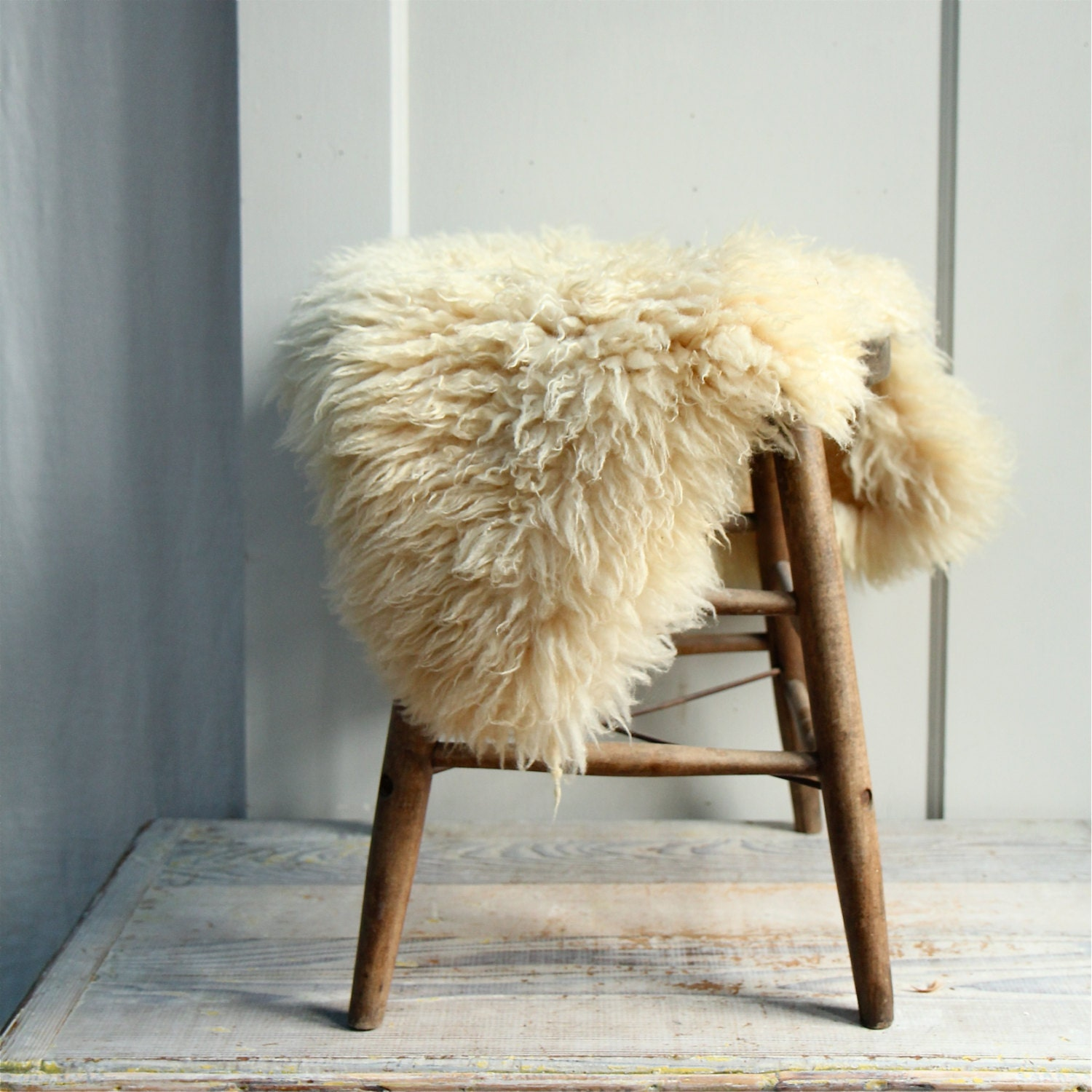 Vintage Sheep Skin Pelt Fur Cushion Rug By Ethanollie On