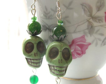 Green Sugar Skull Dangle Style Earrings