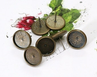 50pcs antique bronze finish Earring Posts base - fit for 12mm cab. BN272A