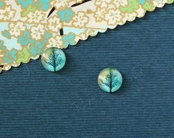 Sale - 10 pcs handmade tree on blue dome cabochons 12mm (12-0787)