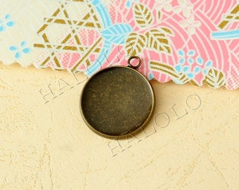10 pcs very good quality antique bronze round base - for 20mm round cabochons. BN359C