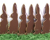 Chocolate Brown Bunny Rabbit Wood Ornament