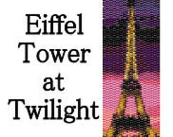 Peyote Pattern Eiffel Tower at Twilight Beaded Peyote Cuff Pattern Delica Seed Beads Digital PDF Two Drop Peyote Stitch